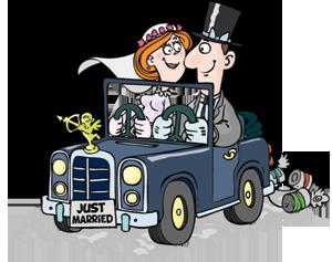 Hochzeitsauto mit Blechdosen