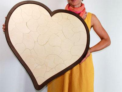 Holzherz Hochzeitsspiel Mosaik Rahmen
