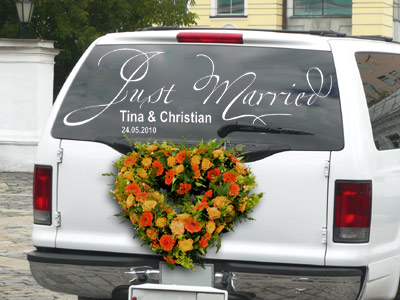 Autoaufkleber Just Married mit Namen und Datum